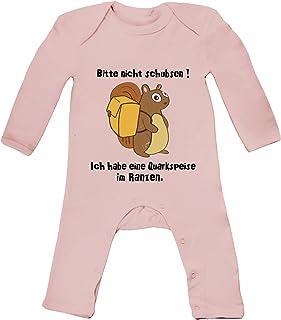ShirtStreet Baby Strampler Langarm Schlafanzug Jungen Mädchen Eichhörnchen - Bitte nicht schubsen