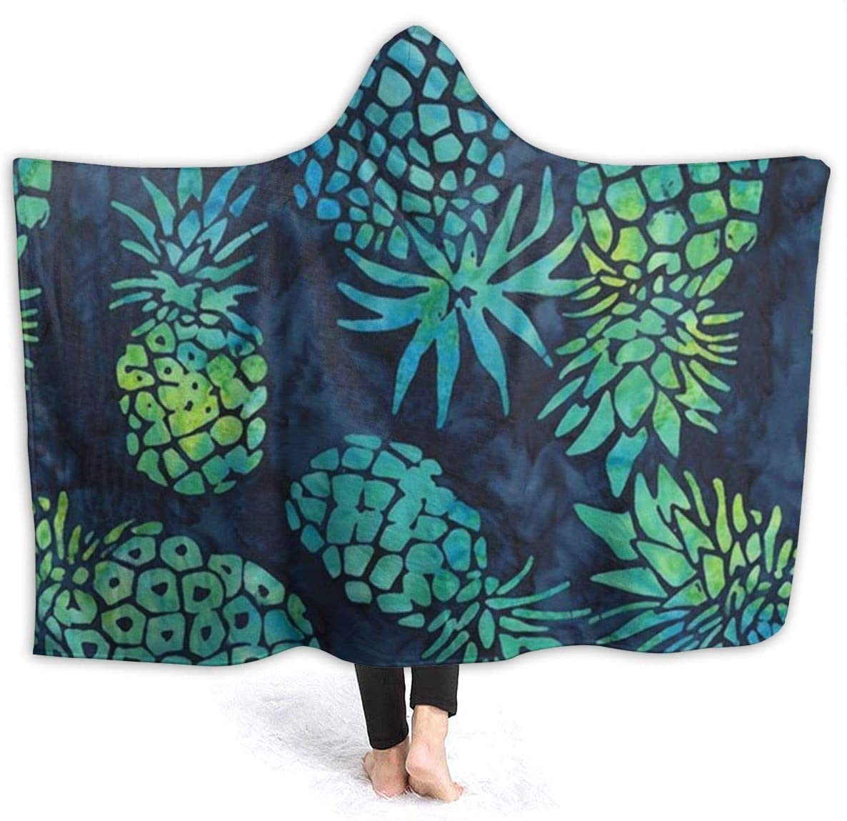 Hooded Flannel Blanket Max 47% OFF Pineapple Fruits Pineapples Blue Los Angeles Mall Tropical