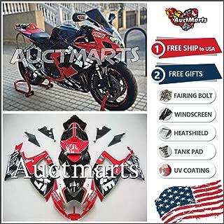 Auctmarts Injection Fairing Kit ABS Plastics Bodywork with FREE Bolt Kit for Suzuki GSXR600 GSXR750 GSX-R 600 GSX-R 750 K6 2006 2007 Black Red (P/N:2g43)