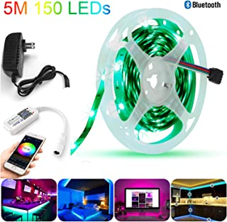 Sumaote Bluetooth LED Strips Kit, 16.4 Ft 150 LED Dimmable RGB 5050 LED Strip with Bluetooth Mesh Controller and 12V Power Supply Plug, Ideal for Home Party Bedroom Decoration