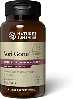 Nature's Sunshine Vari-Gone, 90 Capsules, Varicose Vein Supplements with 7 Powerful Herbs and Nutrients That Support Circu...