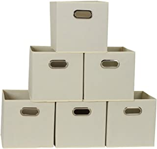 Household Essentials 82-1 Foldable Fabric Storage Bins   Set of 6 Cubby Cubes with Handles   Natural, 6 lbs