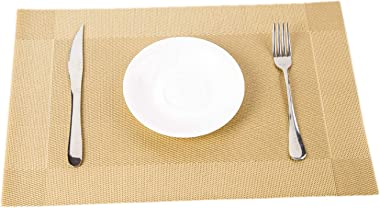 Hawksbill Dining Table Plate Mat Rectangle PVC Placemat Waterproof Stain Resistant Table Mat, Easy to Clean, 6 PCS Insulation Plate Mat for Restaurant,Kitchen