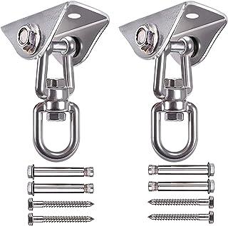 ColorFODA Swing Set Brackets, 2 Sets Swing Hangers Porch Swing Hardware 1000LBs Capacity Heavy Duty 360° Rotating Swing Mo...
