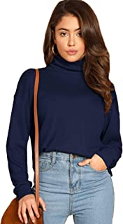 MAKEMECHIC Women's Basic High Neck Long Sleeve Slim Fit Pullover Solid Sweatshirt