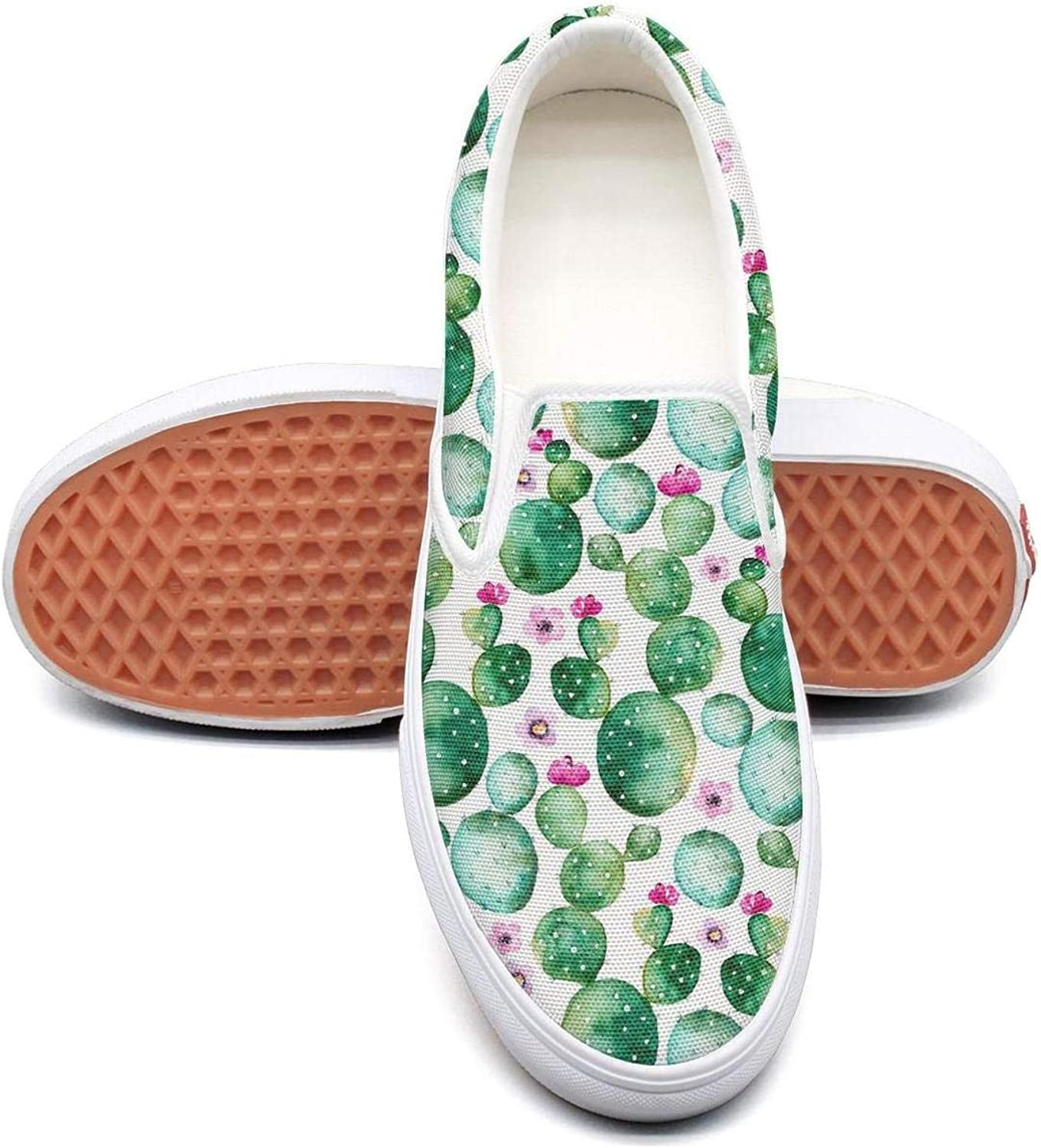 Feenfling Cactus Plants and Purple Flowers Womens Denim Slip on Low Top Canvas Basketball shoes
