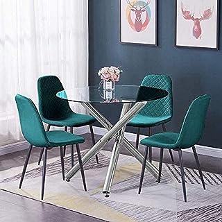 BJYG Muebles Mesa de Comedor de Cocina de Vidrio Redondo y sillas de Terciopelo Verde Juego de 4 sillas tapizadas de recepción de Oficina y Mesa de Vidrio Templado Transparente Juego de Mesa y si