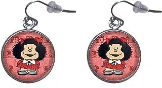 Orecchini pendenti in acciaio inossidabile, diametro 20 mm, fatto a mano, illustrazione Mafalda 3