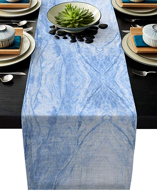 Olivefox Linen Burlap Table Runner 14x72 Inches Long Abstract Blue Marble Textured Farmhouse Table Cloth Dresser Scarf For Holiday Parties Dining Room Home Kitchen Wedding Decorations