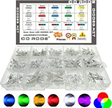 CO RODE RGB LED, 3mm 5mm LED Diode Light Kit with Color White Red Blue Green Yellow UV, Fast, Slow Flashing, RGB