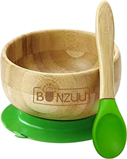 Bunzuu™ Organic Bamboo Spill Safe Baby Food Bowl and Silicone Spoon Set with Suction Base – BPA Free, Lead Free, Plastic Free – Naturally Antibacterial and Antimicrobial – Perfect Baby Gift (Green)