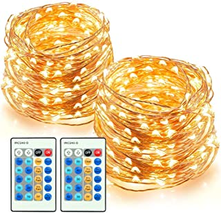 TaoTronics LED String Lights 66ft 200 LEDs Dimmable Festival Decorative Lights for Seasonal Holiday, Complete Waterproof,UL Listed(Copper Wire Lights,Warm White)-2 Pack