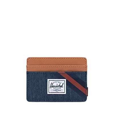 Herschel Supply Co. Charlie RFID (Indigo Denim/Synthetic Leather Stripe Peacoat/Picante) Wallet Handbags