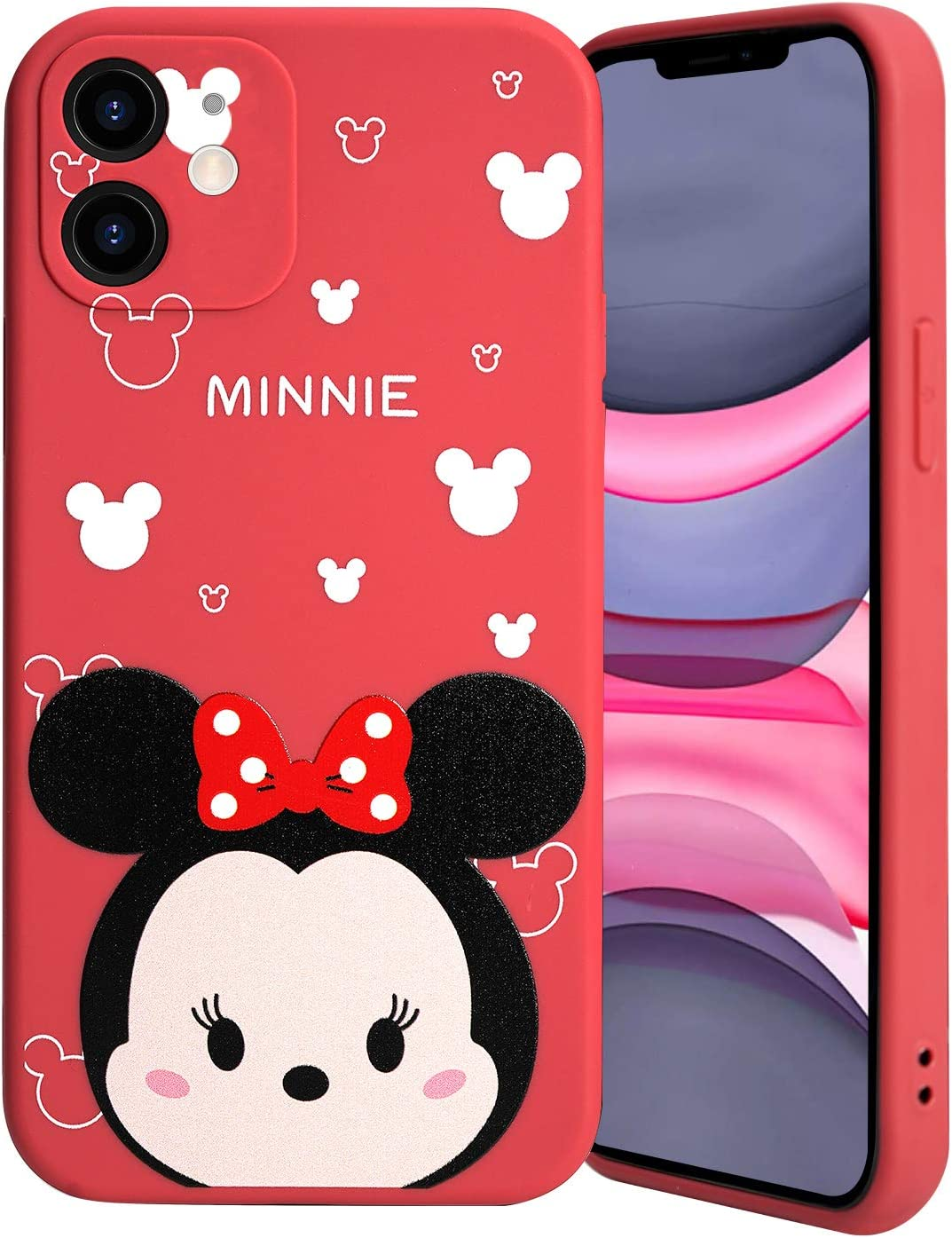 Minnie Character Compatible with iPhone 11 Case, Flexible Rubber Silicone Case Anti-Scratch Slim Design with Bumper Drop Protection, Street Fashion Red Minnie Fully Protective Case for iPhone 11