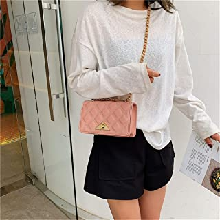 ZZZ Women Bag Fashion One-shoulder Triangle Lock Rhombus Chain Messenger Wild Chic fashion (Color : Pink)