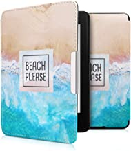 kwmobile Case for Amazon Kindle Paperwhite - Book Style PU Leather Protective e-Reader Cover Folio Case - (for 2017 and Older) Blue/Brown