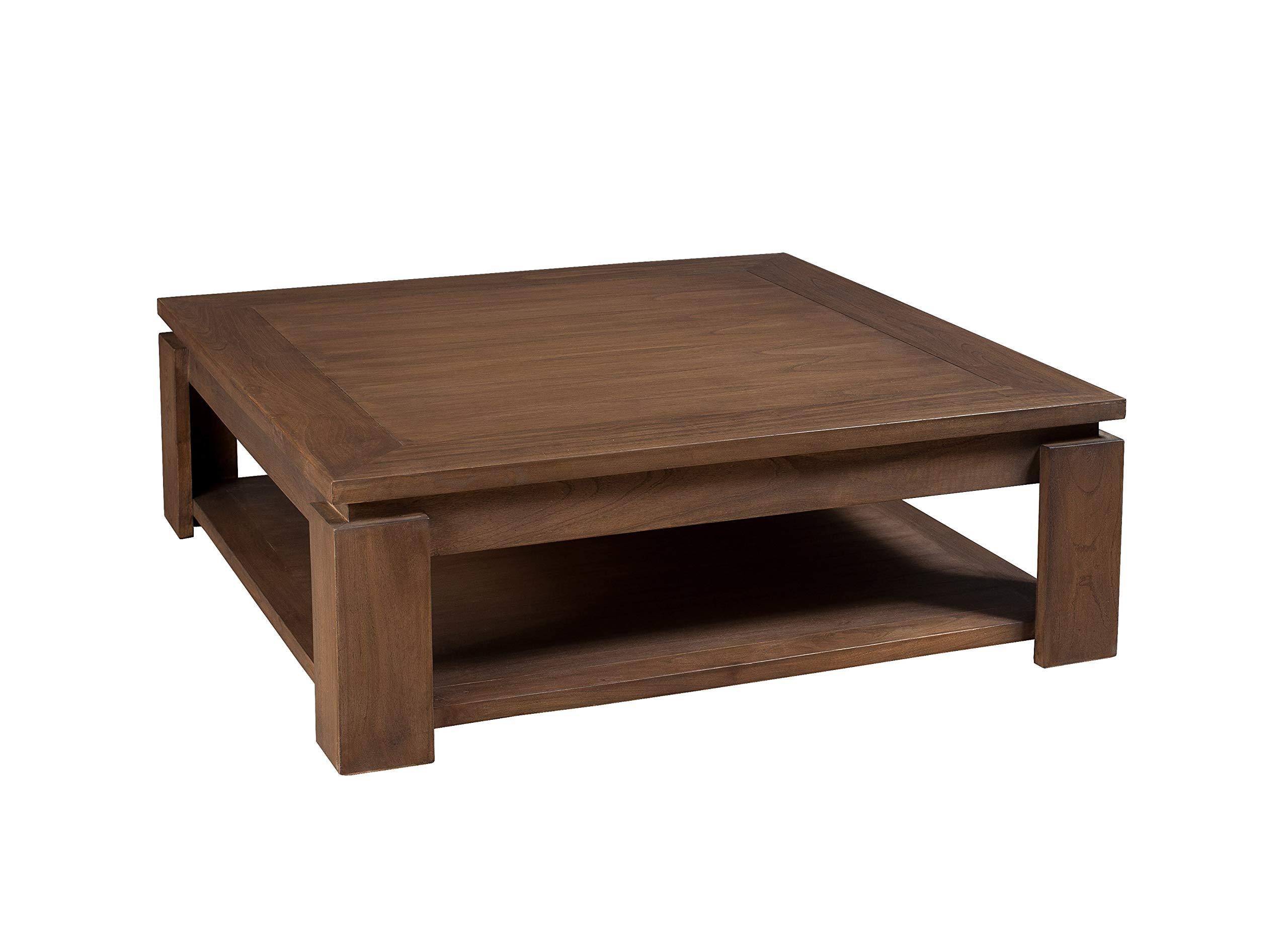 in legno massello in quercia selvatica Tavolino da salotto con ruote e ripiano in vetro modello Ema Marchio  -/Alkove Hayes