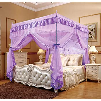 hudiemm0B Romantic Princess Lace Canopy Mosquito Net No Frame for Twin Full Queen King Bed White King