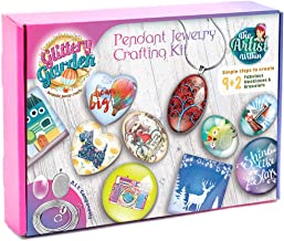 Glittery Garden Girls Jewelry Making Kit Diy Necklace Pendant And Bracelet Crafting Set With Glass Beads And Charms Fashion Accessories Arts And Crafts Supplies Great As Handmade Gift Group Activities