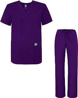 Adar Universal Divise sanitarie Unisex - Divise ospedaliere con Cordoncino - 701 - Purple - 2X