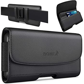 PiTau iPhone 8 6 6S iPhone 7 Leather Case Holster Belt Case with Clip/Loops Belt Pouch Holder for Apple iPhone 6 6S 7 8 Phone with a Slim Hard Case on - Built in ID Card Slot (Black)
