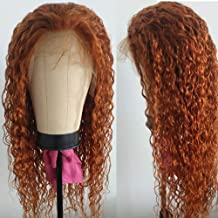 Giannay Orange Brown Lace Front Wigs Curly Long Synthetic Wigs for Women Natural Wave Lace Wigs with Baby Hair Pre Plucked...