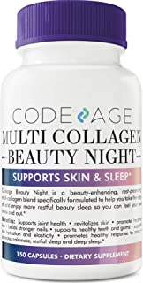 Codeage Multi Collagen Pills Beauty with Sleep Formula, Grass Fed Collagen Type I, II, III, V, X and Magnesium Glycinate, 5 HTP, L Theanine, 150 Capsules