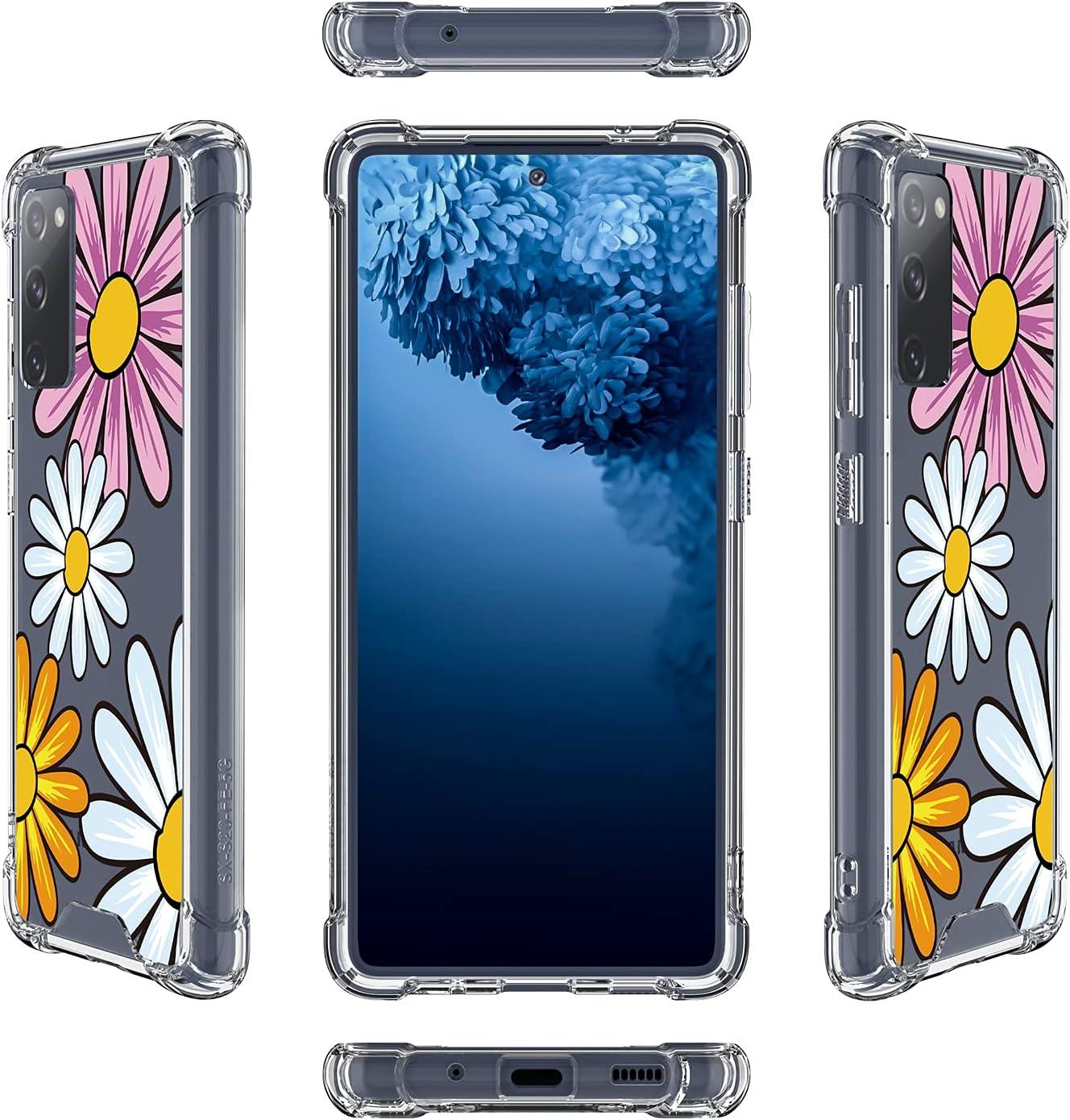 Tnarru Compatible with Samsung Galaxy S20 FE 5G Case Clear Colourful Flower Hard PC+ Soft TPU Bumper Cover Anti-Scratch Shockproof Slim Thin Protective Case for Samsung Galaxy S20 FE 5G