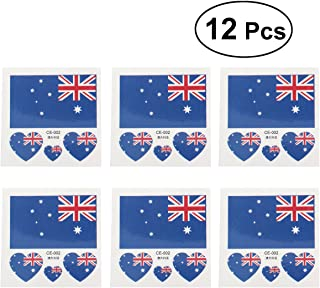 BESTOYARD 12 Pcs Country Flag Tattoo Stickers Fashion Sports Body Art Tattoo Decals for 2018 World Cup (Australian)