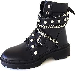 Women Flat leather biker ankle boots 7160/001/040