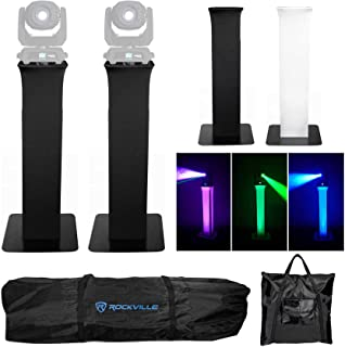2) Rockville RTP32B Totem Moving Head Light Stands+Black+White Scrims+Carry Bags