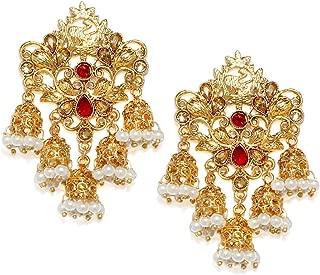 Zaveri Pearls Ethnic Jhumki Earrings for Women (Golden) (B07HL5WHW2)