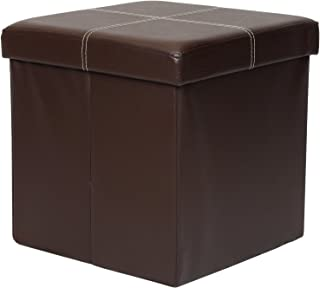 Otto & Ben Folding Toy Box Chest with Memory Foam Seat, Faux Leather Small Ottomans Bench Foot Rest Stool, Line Brown