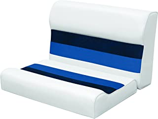 Wise 28-Inch Cushion Only Pontoon Bench Seat, White/Navy/Blue