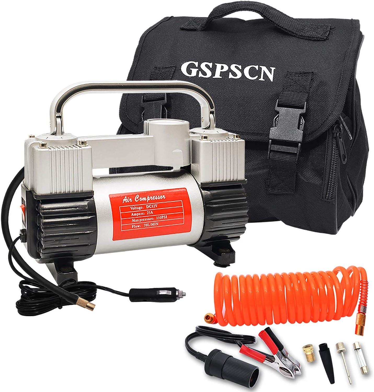 GSPSCN Silver Metal 12V Air Compressor for Car, Truck, SUV Tires