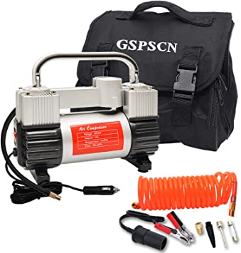 GSPSCN Silver Tire Inflator Heavy Duty Double Cylinders with Portable Bag, Metal 12V Air Compressor Pump 150PSI with Adapter for Car, Truck, SUV Tires, Dinghy, Air Bed etc: image