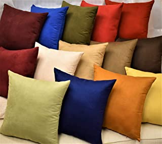 MoonRest Pack of 2- Suede Square Decorative Throw Pillow Covers Sofa sham Solid Colors Couch Cushion Pillowcases (20 x 20 Sage Green)