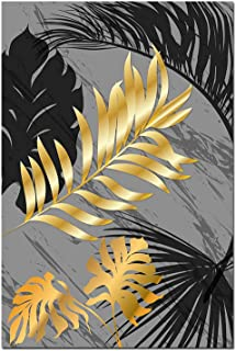 Canvas Poster Prints Black Golden Leaf Canvas Painting Nordic Plants Posters and Print Abstract Wall Art Wall Pictures for Living Room Modern Decor,50X70Cm No Frame,01