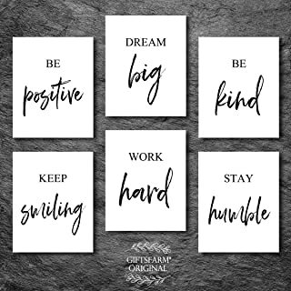 Inspirational Wall Art Motivational Wall Art Quotes Wall Décor Wall Art for Living room Bedroom and Office Art (Set of 6, 8X10in, Unframed)