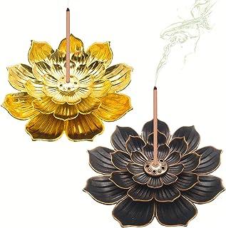 Räucherstäbchenhalter Legierung Lotus Ash Catcher Kupfer Weihrauchbehälter Set, Räucherstäbchen in Lotus-Form, Lotus Censer Stick Incense Holder Gold  Bronze