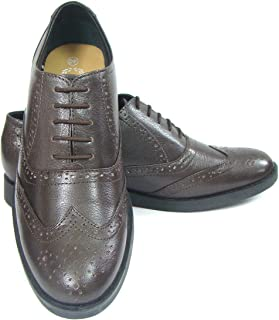 ASM Pure Leather Formal Brown Brogue Shoes with Leather Upper, Leather Insole, Fully Leather Lining, TPR Sole and Memory Foam Cushioning for Boys/Mens by Article 101B, 5 to15