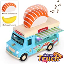 REMOKING Alloy Dining Car Toy, Educational Stem Pull-Back Magnetic Induction Car, 1:36 Scale Die-cast Food Truck Creative Decoration Model with Sounds and Lights, Great Gifts for Children and Adults