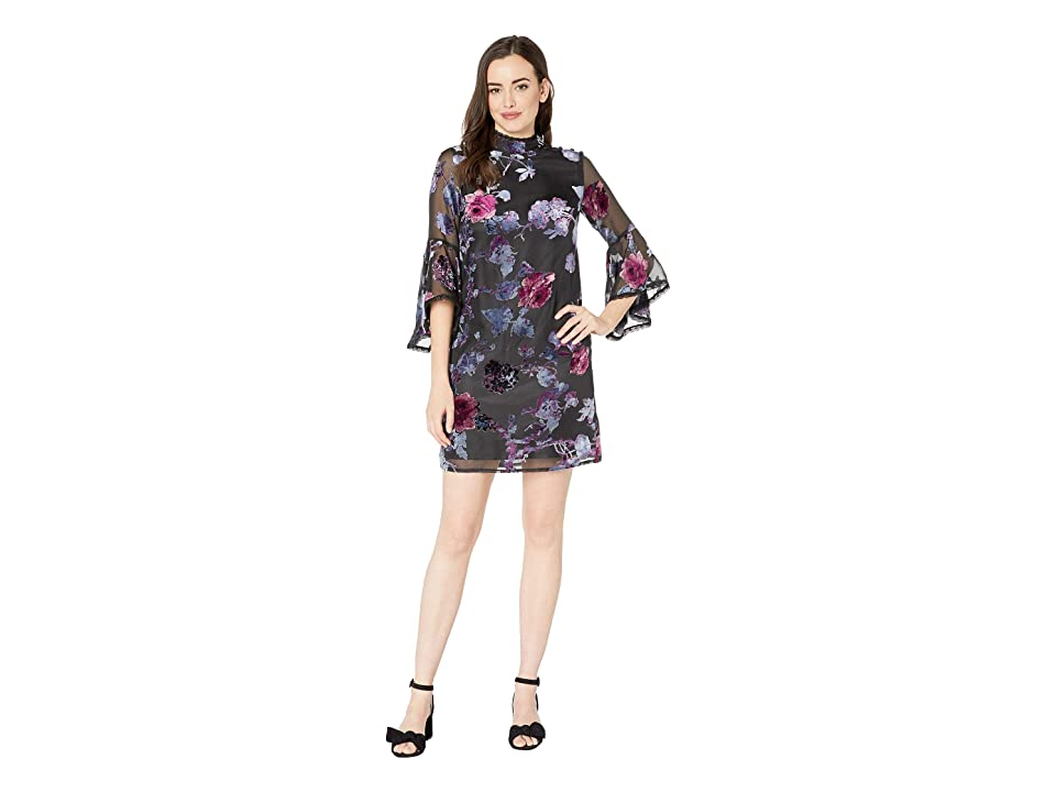 Tahari by ASL Velvet Burnout Shift Dress (Black/Lilac/Rose) Women