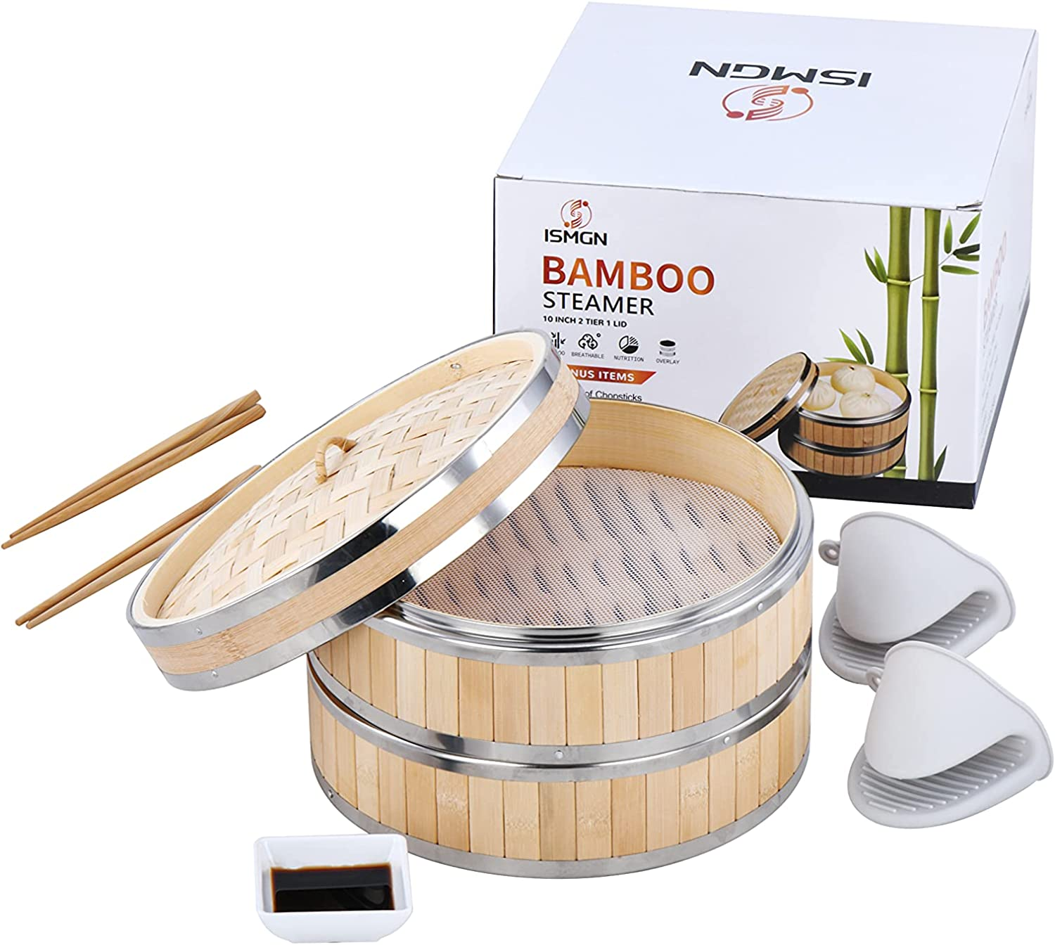 10 Inch Bamboo Steamer Basket, 2 Tier 1 Lid Bamboo Steamer Basket, Chinese Steamer, Natural Bamboo Food Steamer with 2 Sets of Chopsticks 1 Sauce Dish & 2 Silicone Papers Liners - Steam Cooker