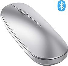 OMOTON Ratón Bluetooth, Ratón Inalámbrico Compatible con Macbook, iPad (Superior a Versión 13), Ordenador, Tablet, Sistema de Windows, Android, Mac, Linux y iPadOS, Ratón BT5.0/3.0, Plata