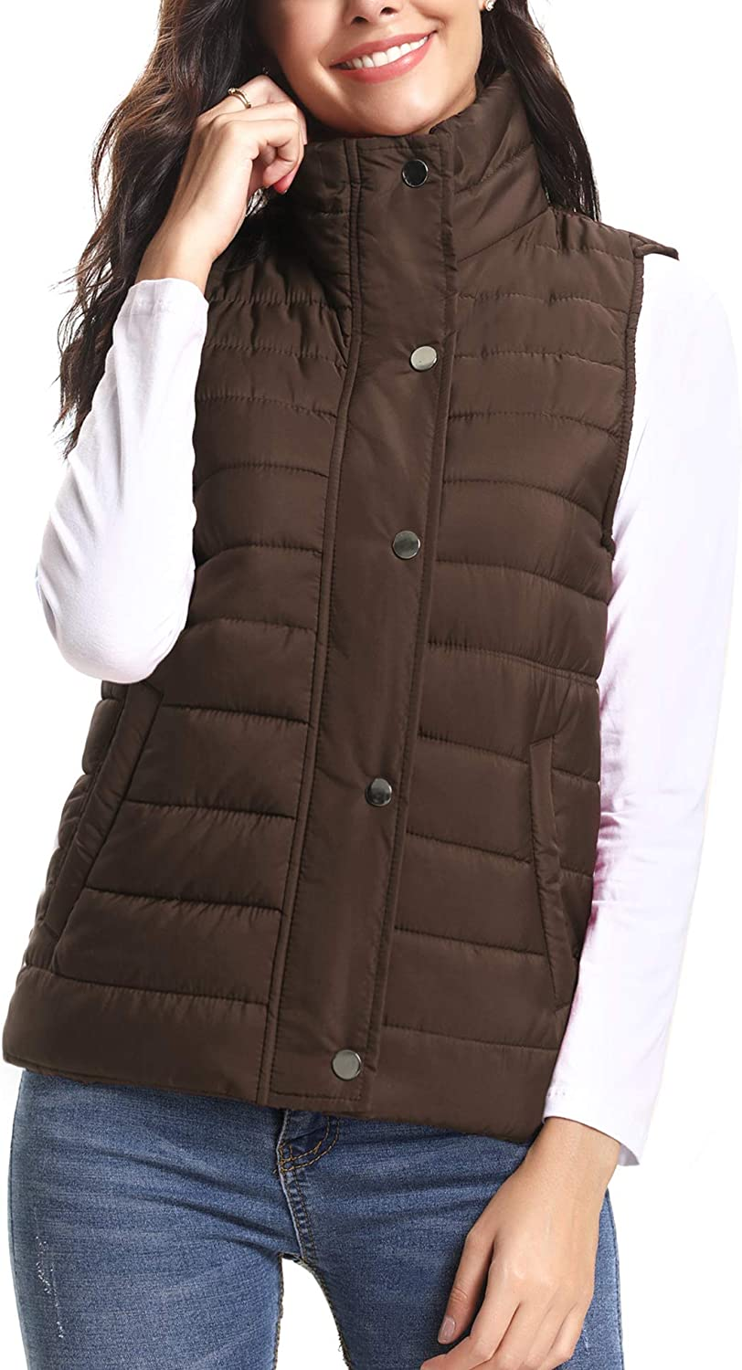 iClosam Women's Winter Puffer Vest Lightweight Packable Vest Quilted Jacket Outerwear Vests: Clothing