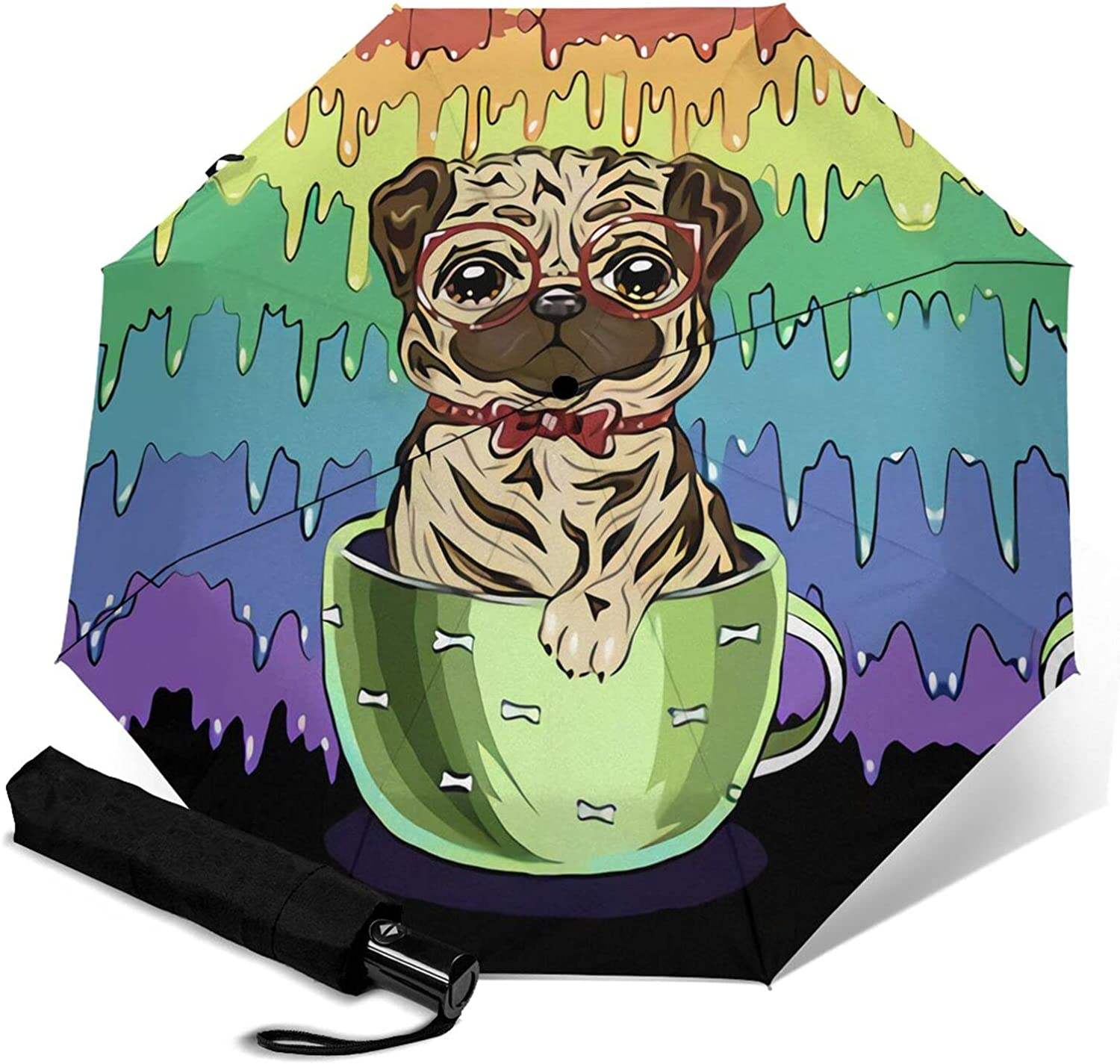 Colored Puppy Print Automatic Three-Folding Superior Waterproof Umbrella Limited Special Price