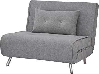 AmazonBasics - Sofá cama,  100 x 91 x 91, Gris