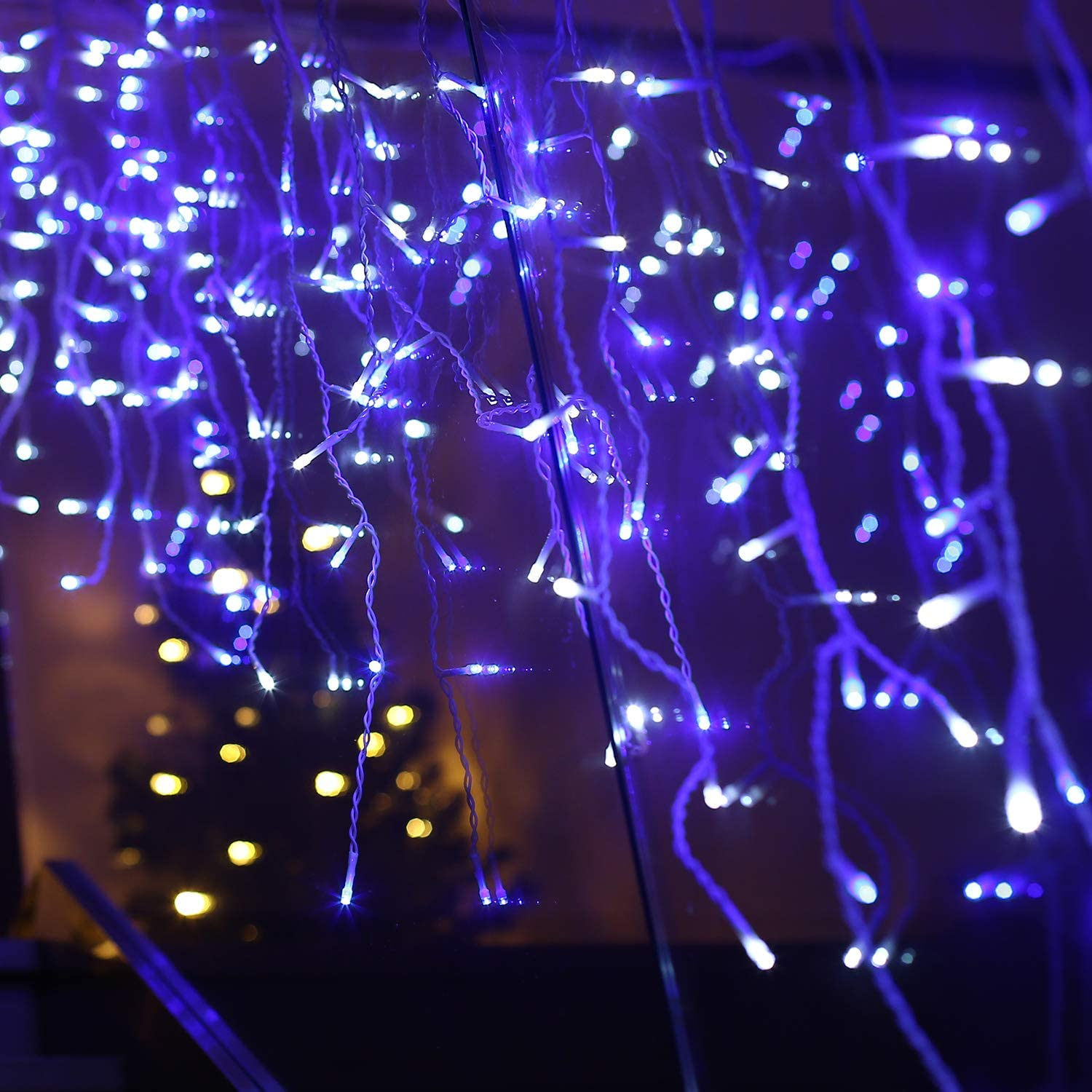 Gliimus 220 Lights Icicle Light (White & Blue LED) with 3 Flash Changing Modes Waterproof Fairy Twinkle Decorative Lights for Party/Christmas/Patio/Home