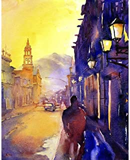 Watercolor painting of colonial architecture and church in the city of Morelia- Mexico (print)